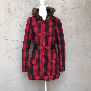 Plaid Fur Hood Jacket